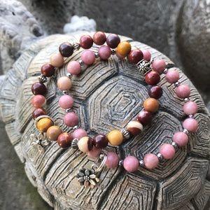 Jasper and rhodochrosite bracelets